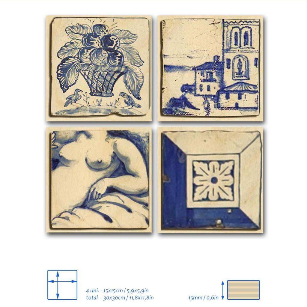Painel de Madeira 4 azulejos lisboa