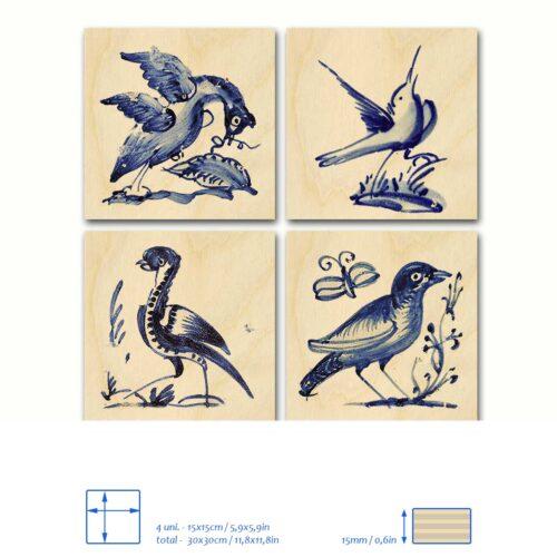 Painel de Madeira 4 azulejos pássaros
