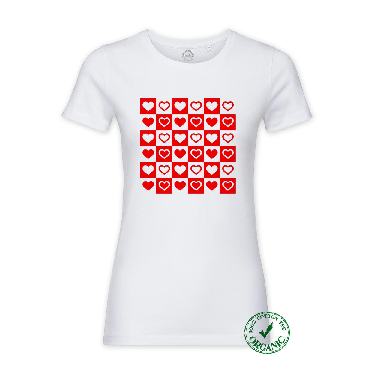 T-shirt Xadrez de Corações